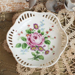 [Good day fetish] Germany vintage ceramic rose hollow snack tray