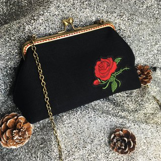 Handmade 2WAY mouth gold chain package rose garden