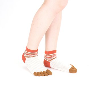 Fork pattern short 5toe socks