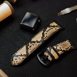 [Limited] [Python skin] limited edition applewatch leather hand strap strap - black and white python skin