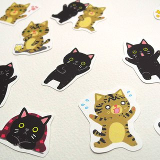 Beautiful lettuce dumb cat waterproof sticker set