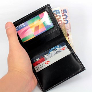 MOOS black vegetable tanned cattle leather full hand sewing simple enough short wallet short money cloth
