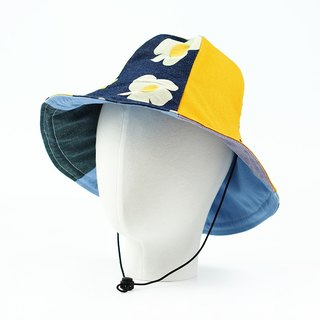 Manual double-sided hats men and women large hats visor can be bent wind rope detachable [Pocket egg flower] [H-357]