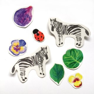 Zebra Sticker Pack, 8 hand cut clear stickers bundle| watercolor ladybug