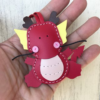 Leatherprince handmade leather Taiwan MIT red cute dragon hand-stitched leather strap small size small size