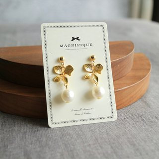 Cotton Pearl 18kgf Clover petal flower simple earrings valentine's day gift