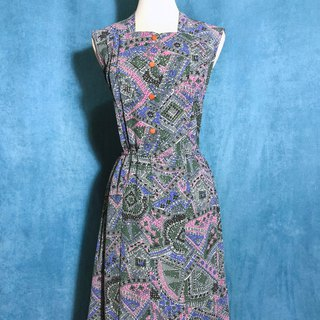 Mosaic Collage Sleeveless Vintage Dress / Bring back VINTAGE abroad