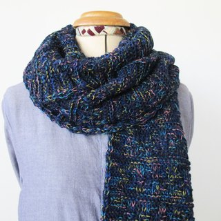 Lan wool scarves (dark blue flowers)