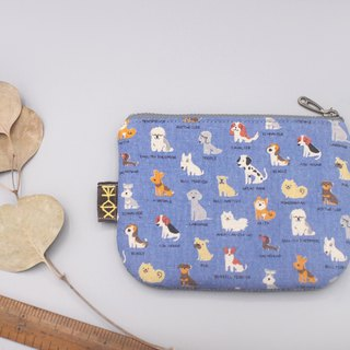 Ping An Xiao Le Bao - Meng Meng dog line up (blue), double-sided two-color Japanese cotton and linen small wallet