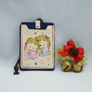 Double leather card holder certificate set naughty angel