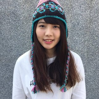 Nepal 100% wool hand-knit wool cap thick - coffee powder x x blue color [HAPPY SHEEP Pleasant]