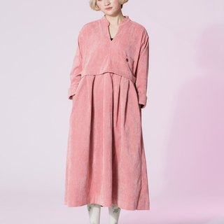 : EMPHASIZE left breast pocket retro high waist corduroy sleeve dress - pink plum