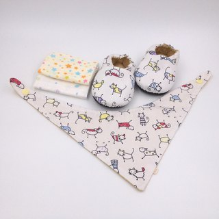 Small line cat - Miyue baby gift box (toddler shoes / baby shoes / baby shoes + 2 handkerchief + scarf)