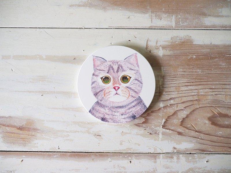 陶瓷皂墊/杯墊/手繪轉印杯墊/桌墊/貓