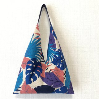 Triangle Tote Bag / Japanese Origami Bag - Rainforest - Blue