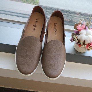 [Peony Petty Forward] Plain casual lazy shoes - Cocoa