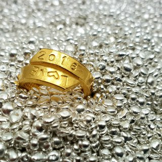 Local gold GG3 - (custom English, digital) - Royal 9999 pure gold knock ring