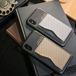 "Vortex series│iPhone X (5.8 "") │ Two-color Card Holder Vertical Protective Back Cover - Seaman Brown"