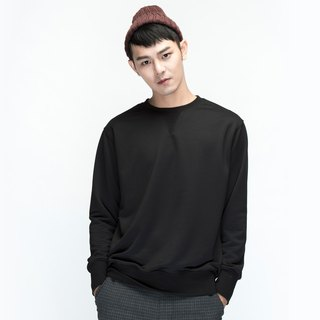 hao Black Crew Neck Sweatershirt black long-sleeved sweater