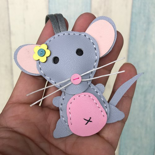 Leatherprince Handmade Leather Taiwan MIT Light Grey Cute Mouse Handmade Leather Charm Small Size small size