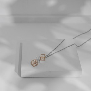 18K Rose Gold X 925 Sterling Sliver Cubic Cube Necklace Valentine's Day Gift