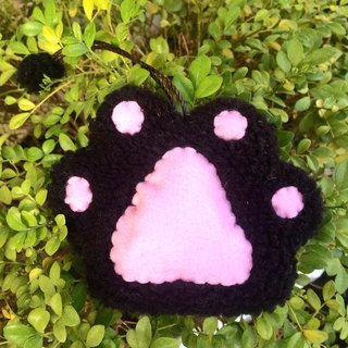 RABBIT LULU cat paw cat meat ball key bag hand-made cat slave special cat - black