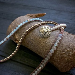 Natural stone braided bracelet - free sea blue / four hand-made hand-woven bracelet ethnic style bohemian natural stone gold sandstone