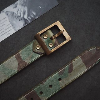 Wax Army Green Camo Hand-stitched Belt Belt Heavy Duty Removable Brass Hardware Customizable Lettering