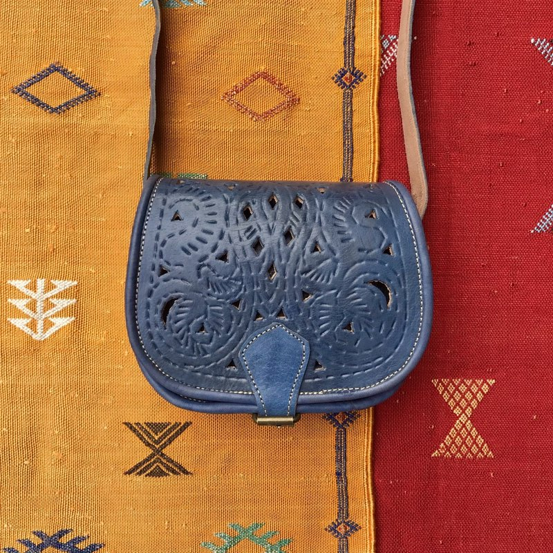 Moroccan handmade openwork carved bag pigeon gray blue