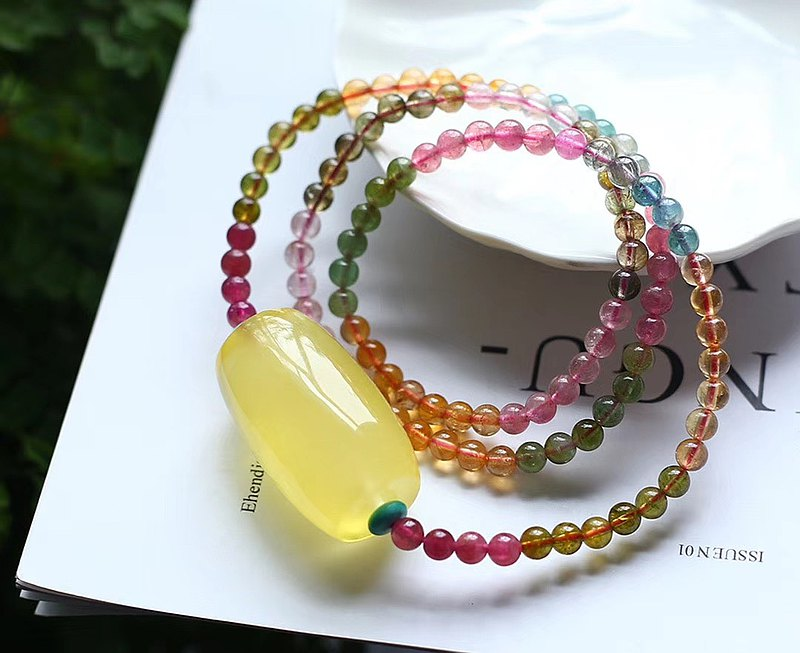 純天然精品蜜蠟桶珠轉運珠 搭配天然彩虹碧璽多圈手鏈項鏈兩用款