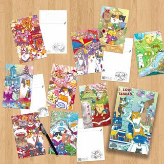 Set Offers \Mix Cat's postcard / you swim with cat Meeks -10 sheets into Taiwan