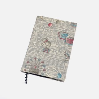 Circus book cover with bookmark handmade Print Cotton Fabric canvas