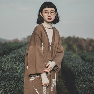 SYAO / Crane in the cloud Chinese discounted wool blend cardigan gown