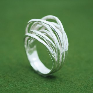 Japanese silver ring - Linear texture ring - Adjustable design - Branch nature