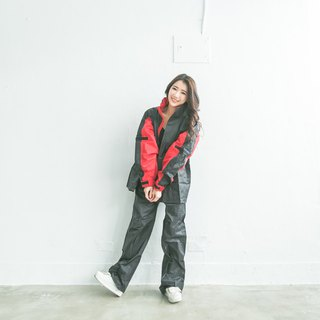 Two-piece Raincoat - Black/Red