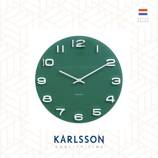 Karlsson, Wall clock Vintage jungle green round glass