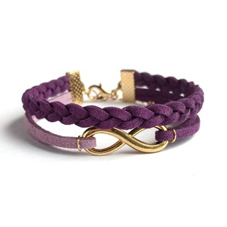 Handmade Double Braided Infinity Bracelets Rose Gold Series–dark purple