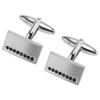 Brush Silver Jet Crystal Cufflinks