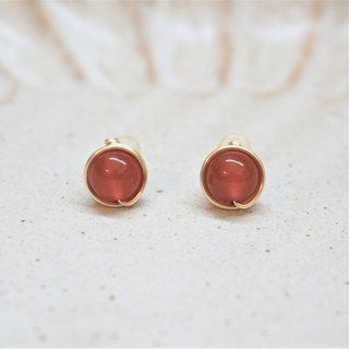 << Gold wire frame ear pin - Red agate >> 8mm (with ear clips)