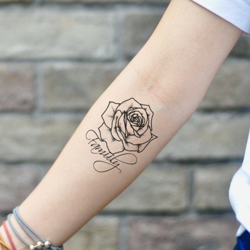 OhMyTat 家庭玫瑰 Family Rose 刺青圖案紋身貼紙 (2 張)