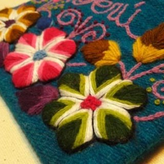 Rainbow flowers hand-embroidered glove bag - blue