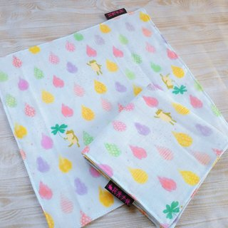 Rain little frog ● Japanese double yarn double handkerchief small square