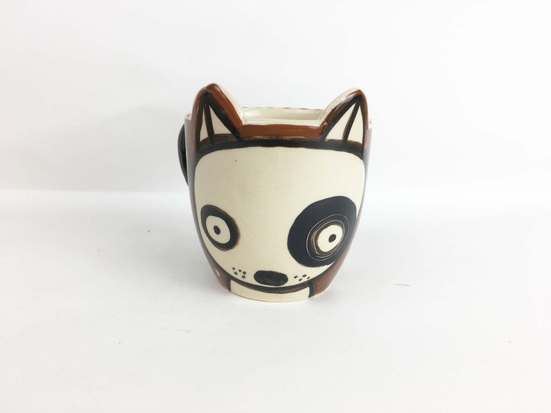 Nice Little Clay wide mouth mug black round dog cute dog 01062-04