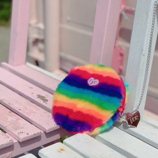 Rainbow rabbit hair silver chain round package