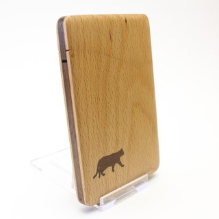 Slim name-card holder cat Beech and Walnut