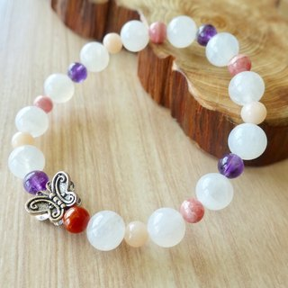 BEAUTY SELF | Moonstone Purple Crystal Powder White Stone Rhinestone Red Rabbit Black Sterling Silver Butterfly Design Elastic Bracelet