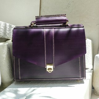 Do not hit the package grape purple vegetable tanned leather full leather small briefcase