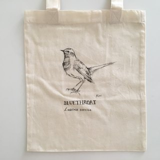 Pure hand-painted bird cotton shopping bag ‧ blue throat song