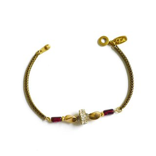 Ficelle | handmade brass natural stone bracelet | [red] Aegean walking