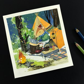 """Winter Christmas Camping"" illustration original"